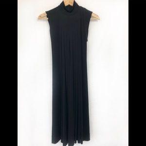 Calvin Klein mock turtle neck pleated black dress